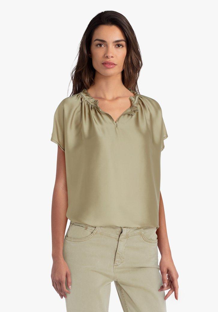 Kaki blouse met detailhals