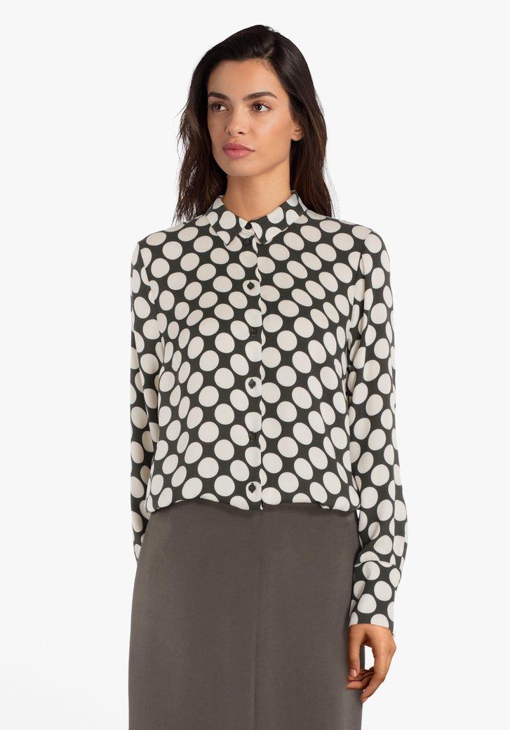Kaki blouse met ecru bollen