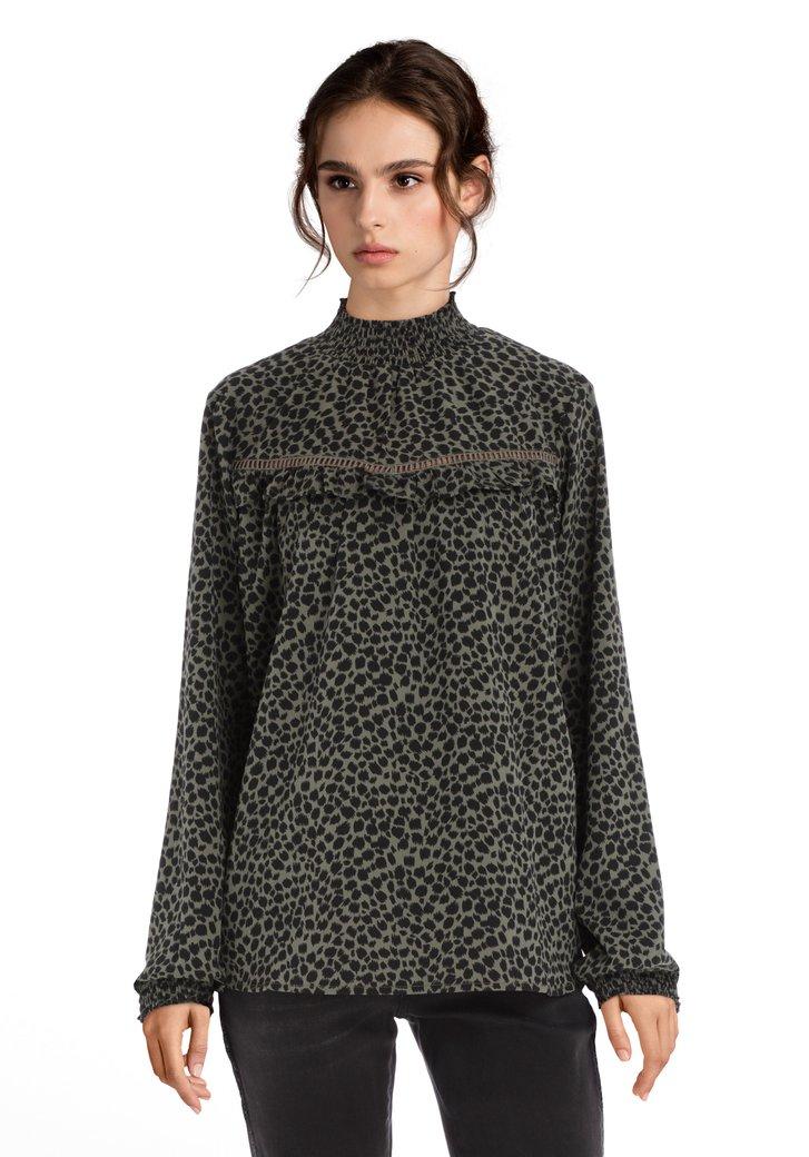 Kaki blouse met panterprint
