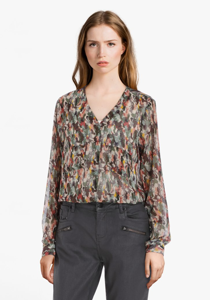 Kaki blouse met roze accenten