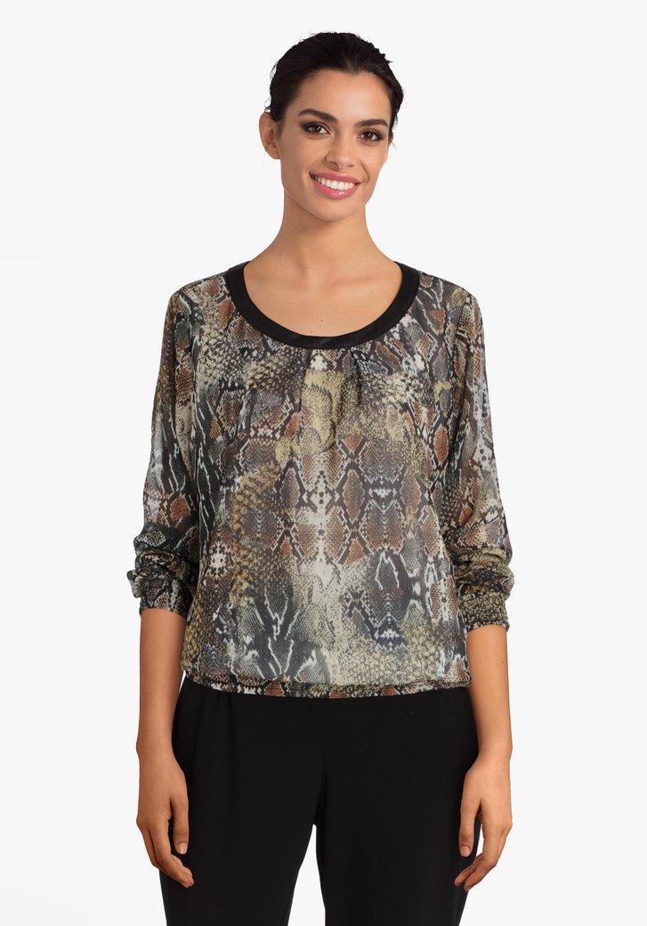 Kaki blouse met slangenprint