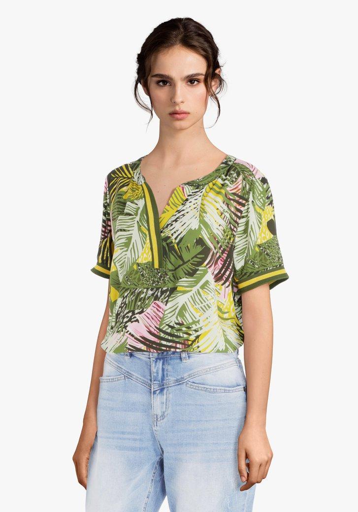 Kaki blouse met tropische print