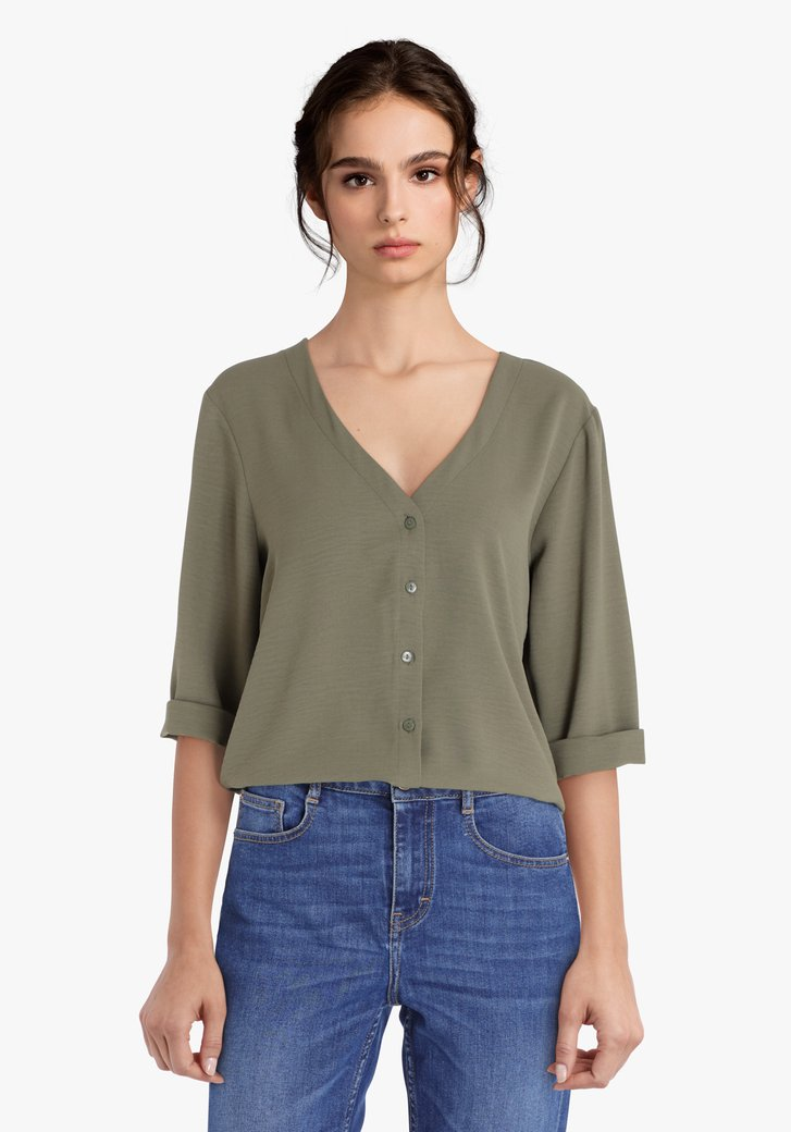 Kaki blouse met V-hals