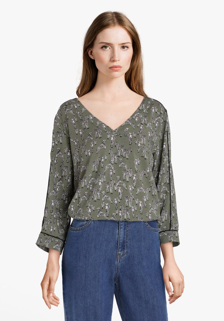 Kaki blouse met zebraprint