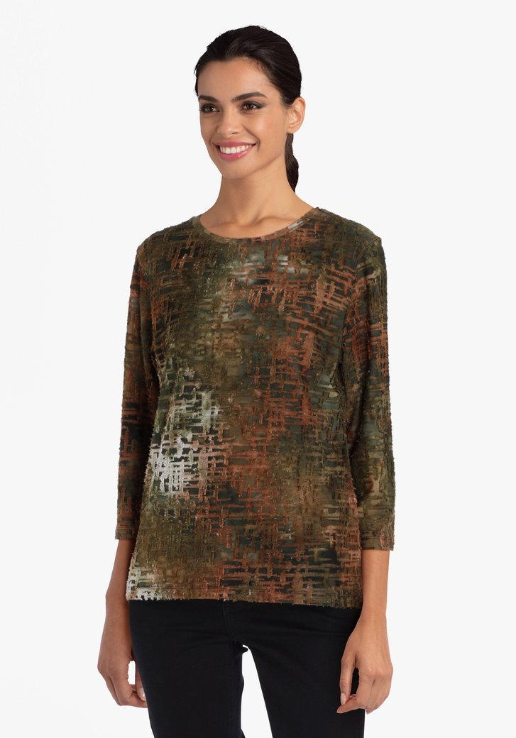 Kaki-bruine T-shirt