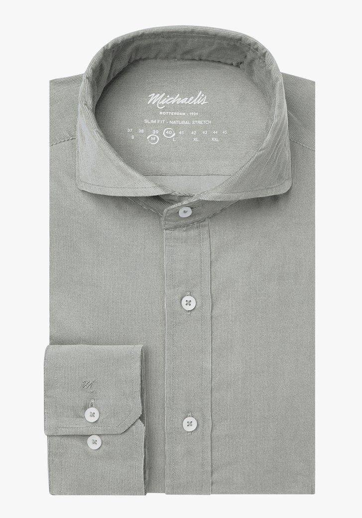 Afbeelding van Kaki fijn gestreept hemd - slim fit