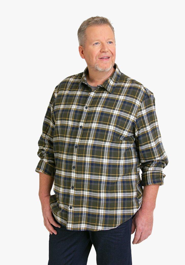 Kaki geruit hemd - regular fit