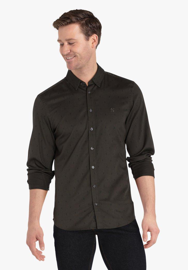 Kaki hemd met print - slim fit
