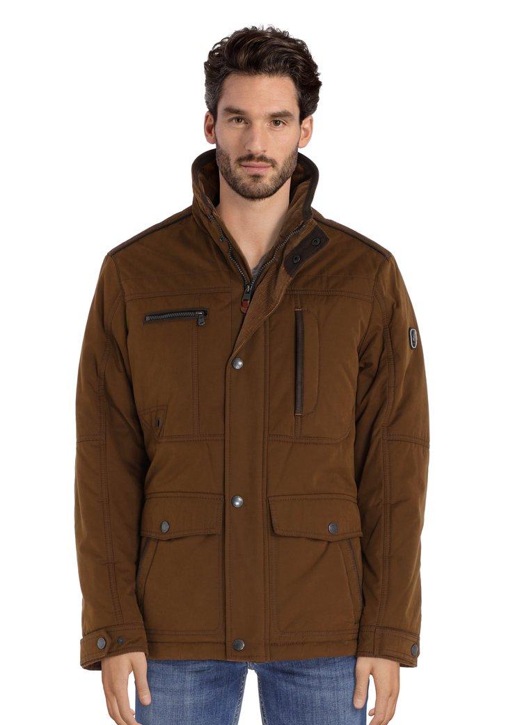 Afbeelding van Kaki jas met geribde fluwelen kraag