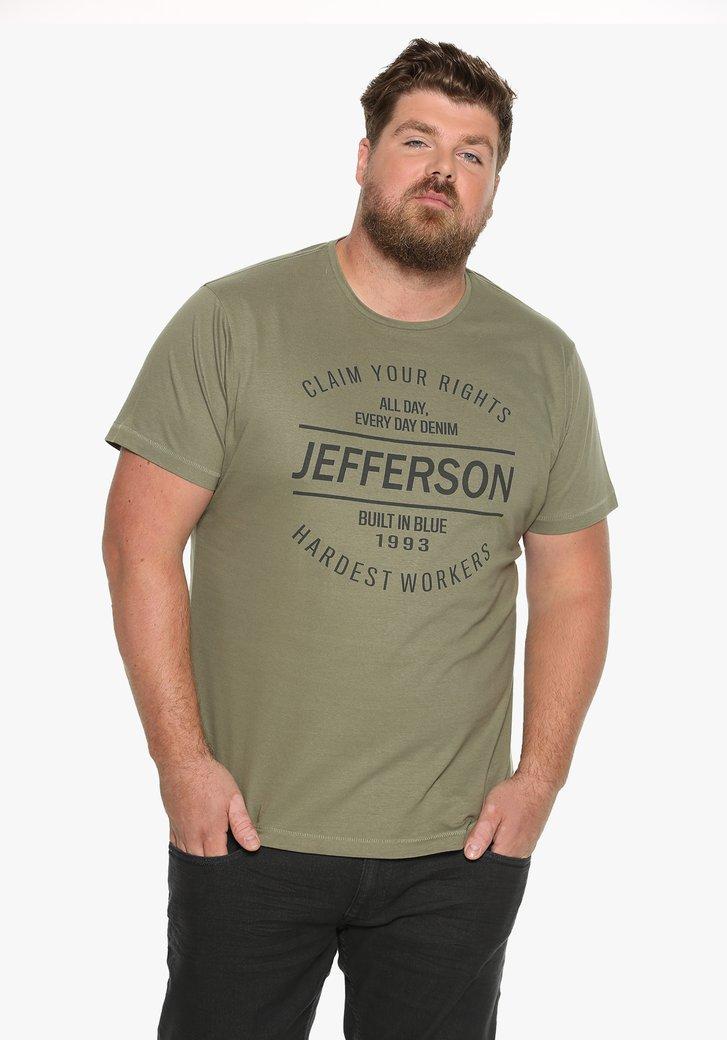 Kaki katoenen T-shirt met zwart opschrift
