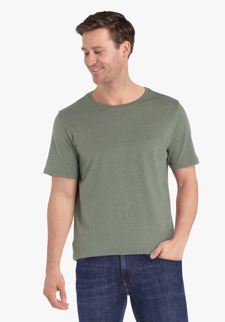 Kaki katoenen T-shirt