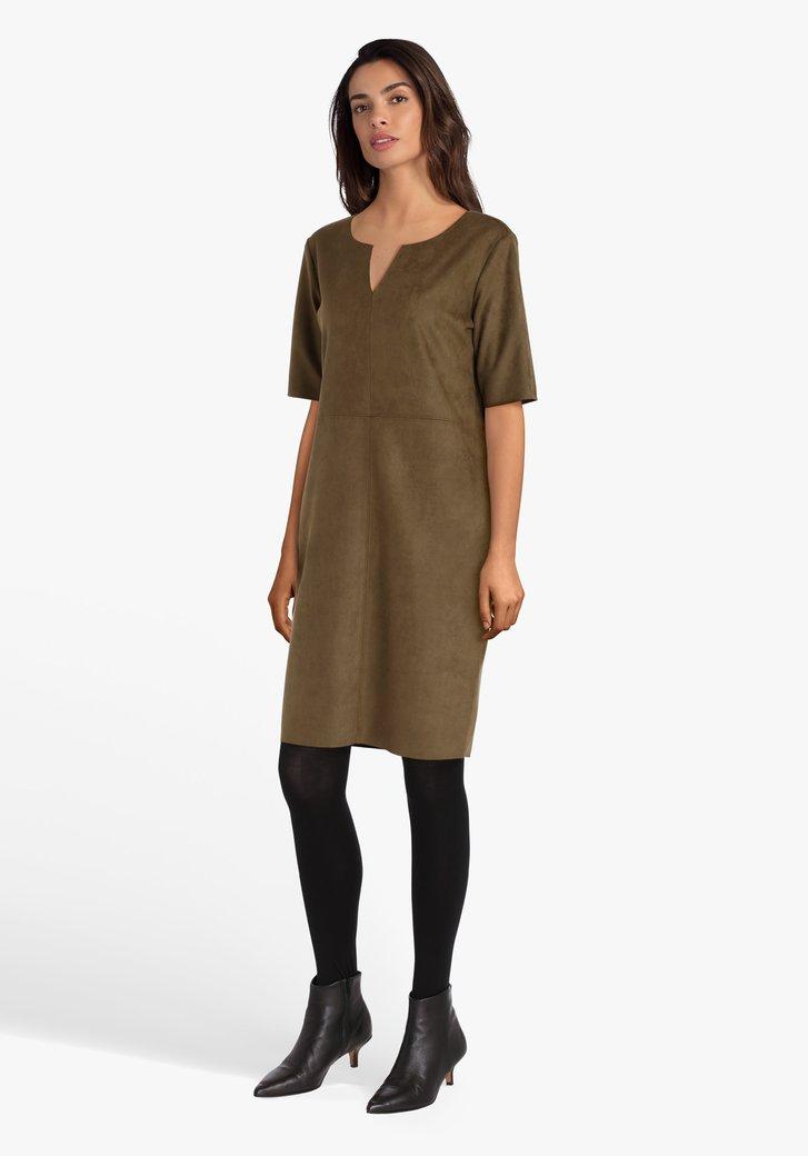 Kaki kleed met korte mouwen