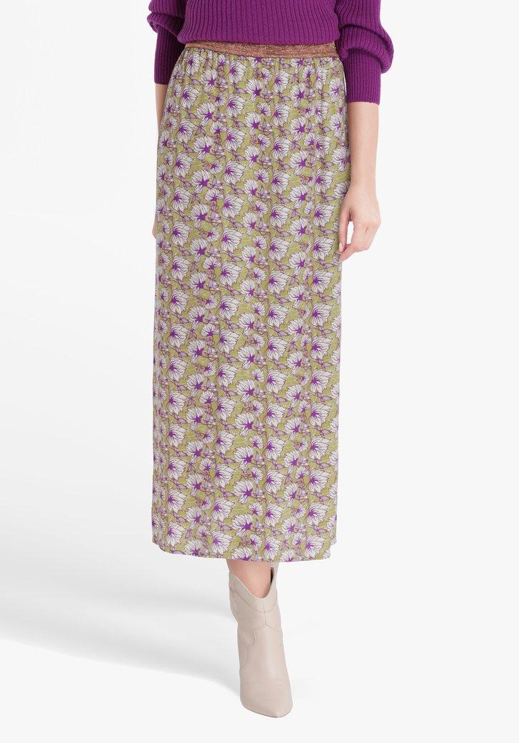 Kaki rok met bloemenprint en elastische taille