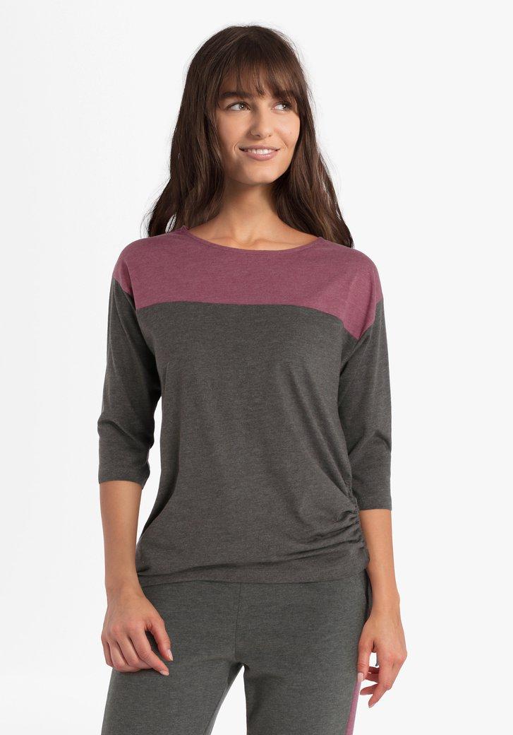Kaki-roze T-shirt met stropeffect aan de zijkant