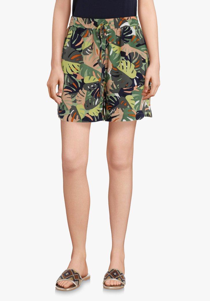 Kaki short met tropische bladerprint