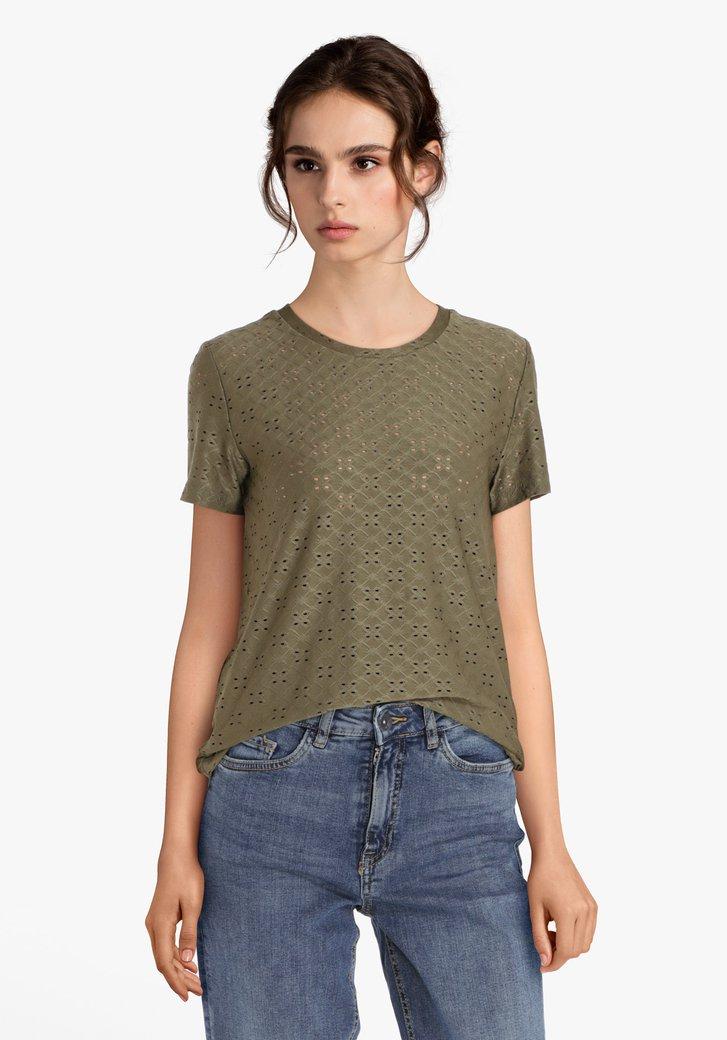Kaki T-shirt met ajour