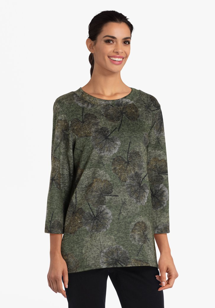 Kaki T-shirt met bladerprint