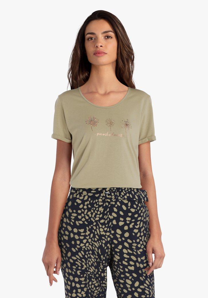 Kaki T-shirt met fijne print