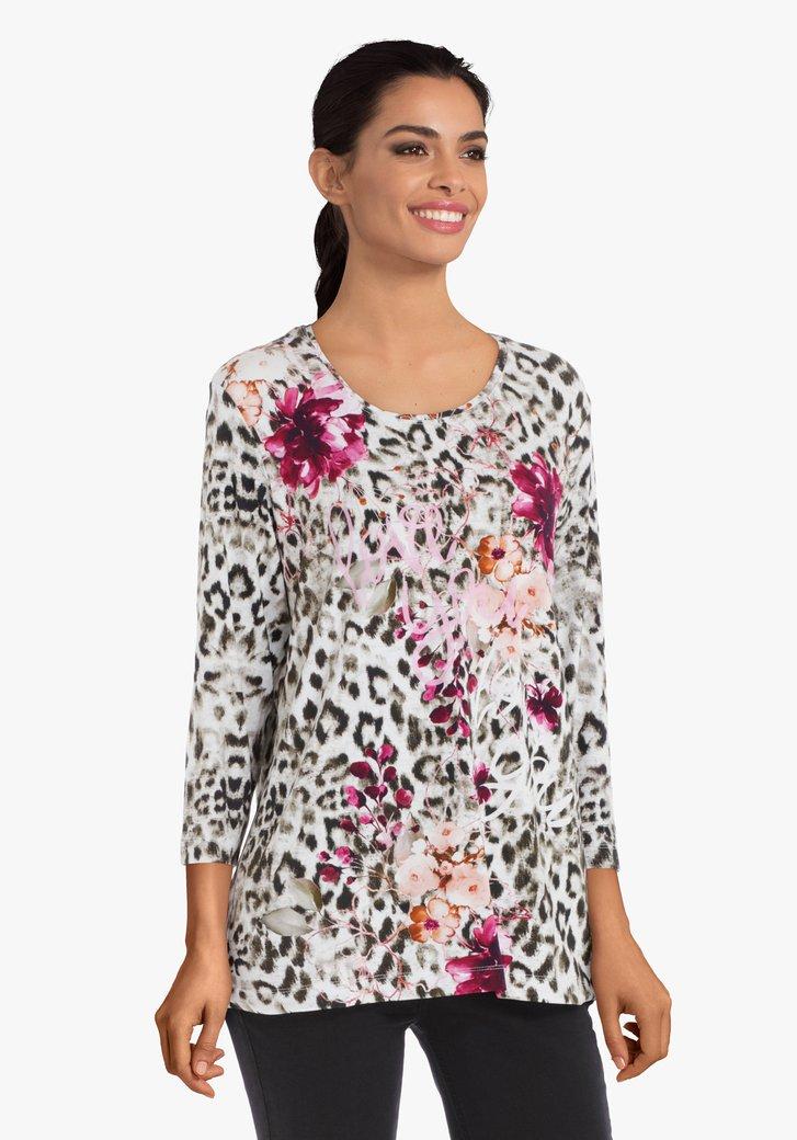 Afbeelding van Kaki T-shirt met fuchsia bloemen