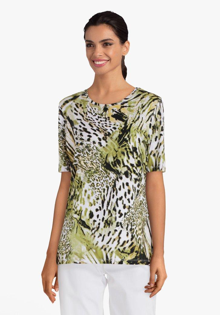 Kaki T-shirt met luipaardprint