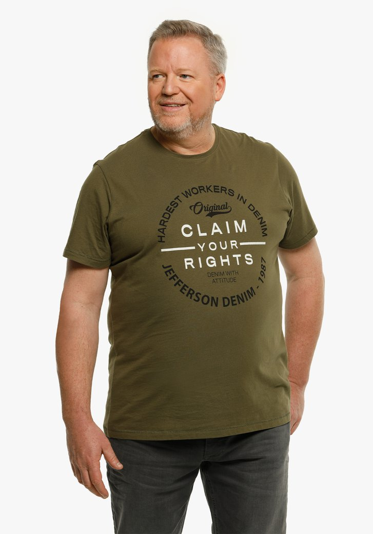 Kaki T-shirt met opschrift