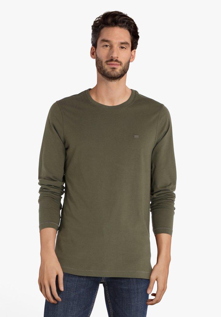 Kaki T-shirt met ronde hals