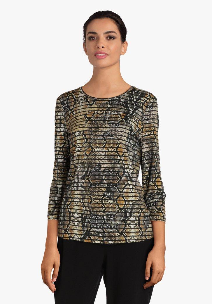 Kaki T-shirt met slangenprint en strepen