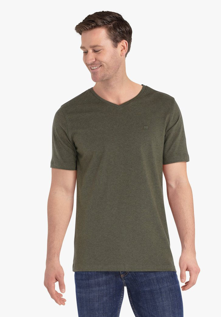 Kaki T-shirt met V-hals