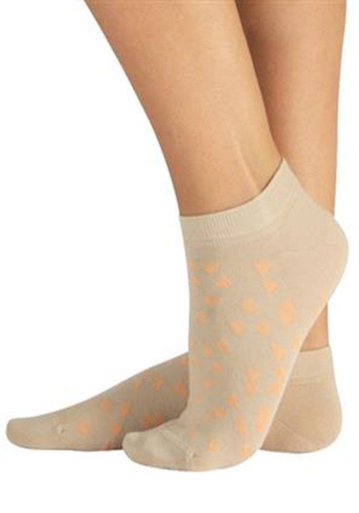 Katoenen sokjes met beige-oranje driehoejesmotief