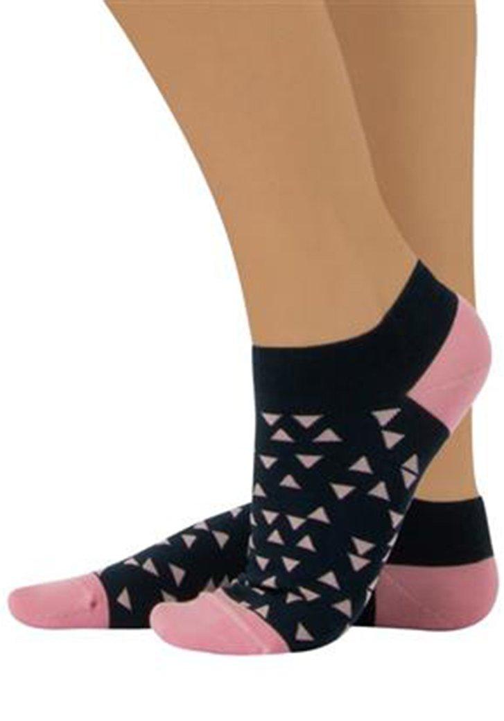 Katoenen sokjes met roos-blauw driehoejesmotief