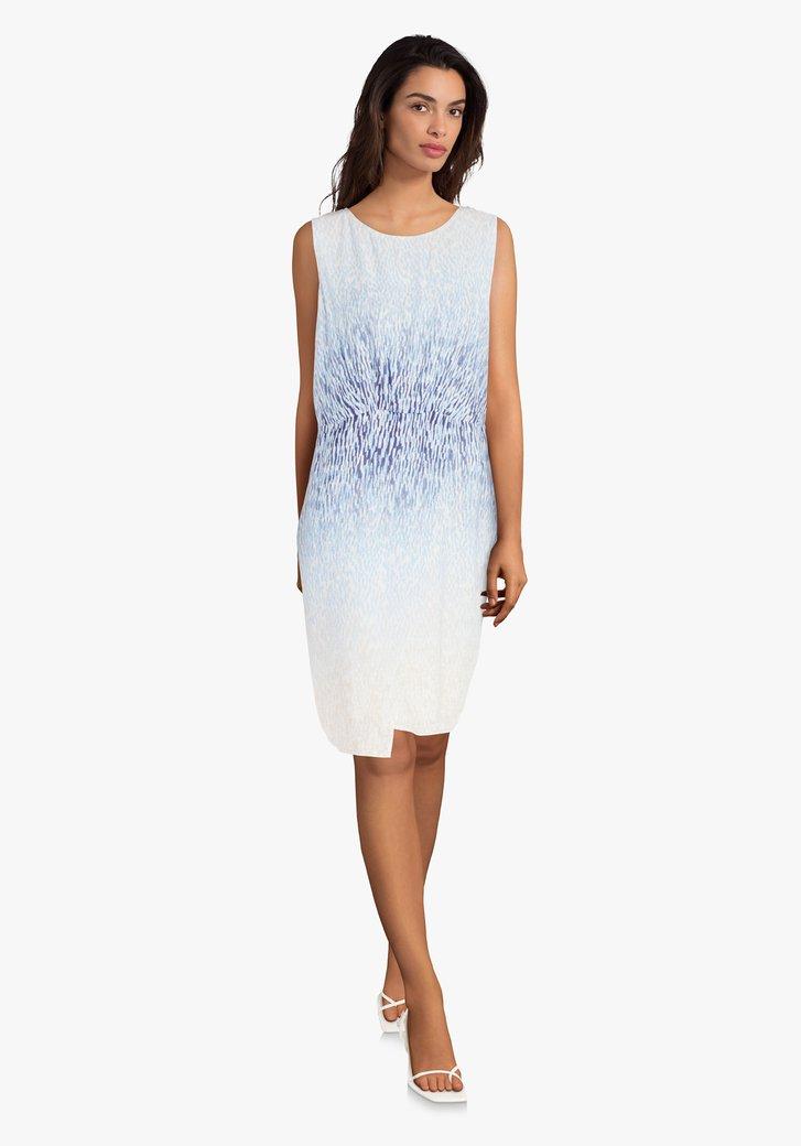 Kleed met blauw-beige print