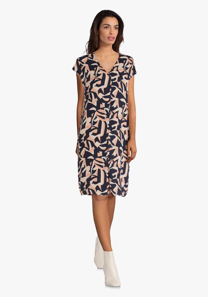 Kleed met blauw-roze print