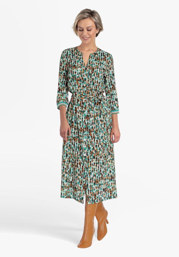 Kleed met bruin-groene print