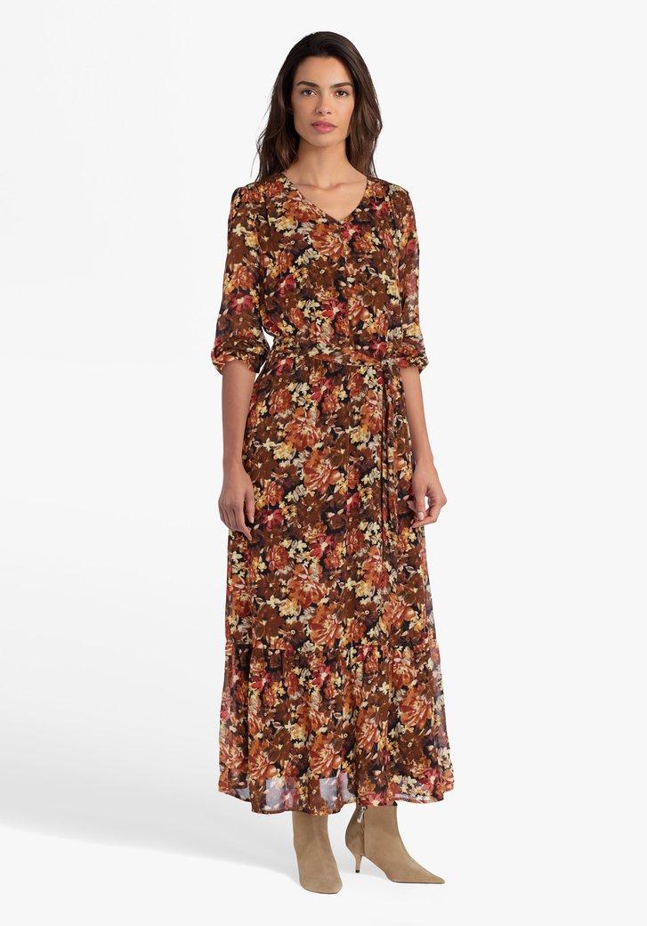 Kleed met bruine bloemenprint