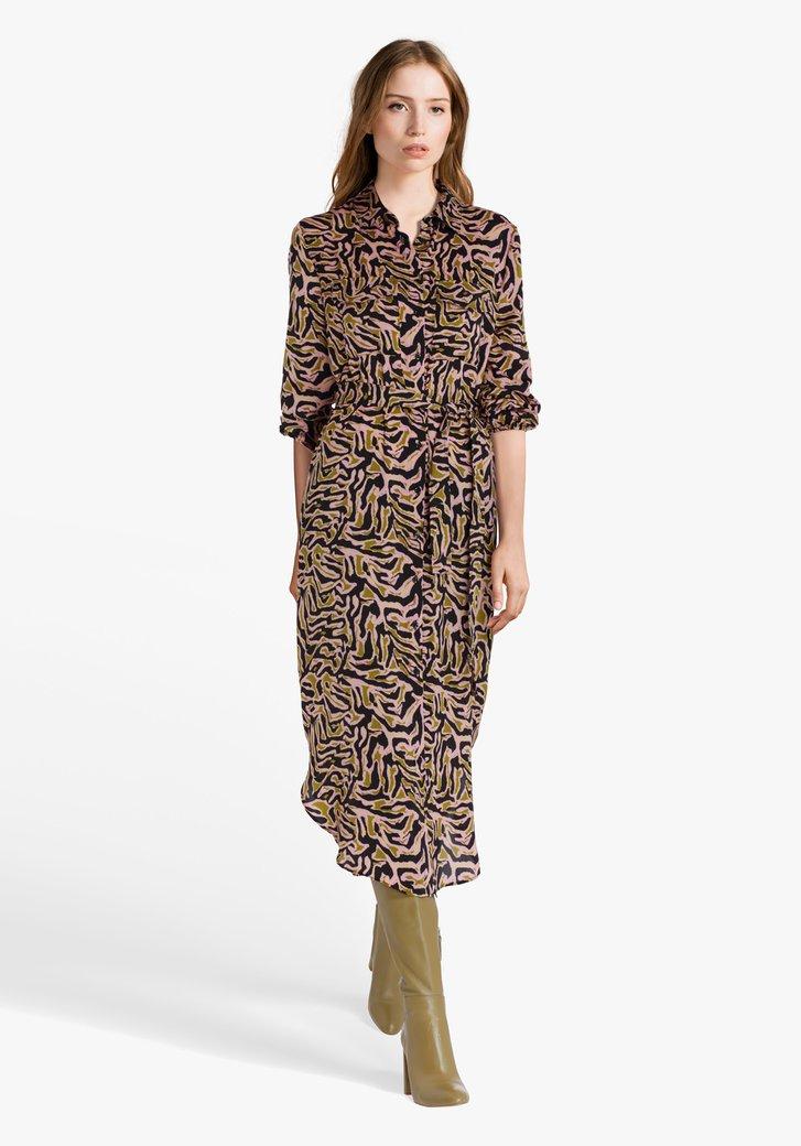 Kleed met een zwart-lila-groene print