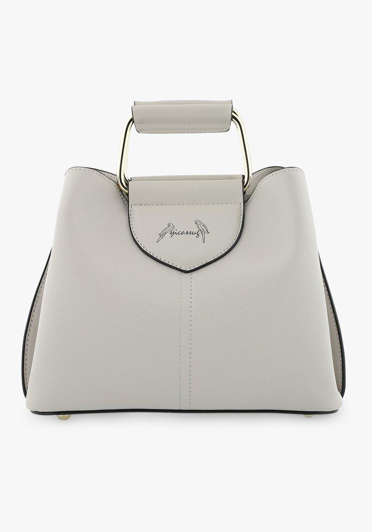 Kleine grijze handtas met drie vakken