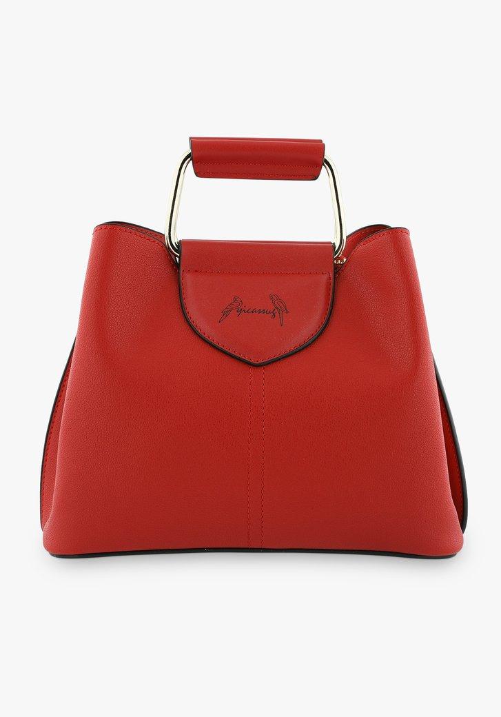 Kleine rode handtas met drie vakken
