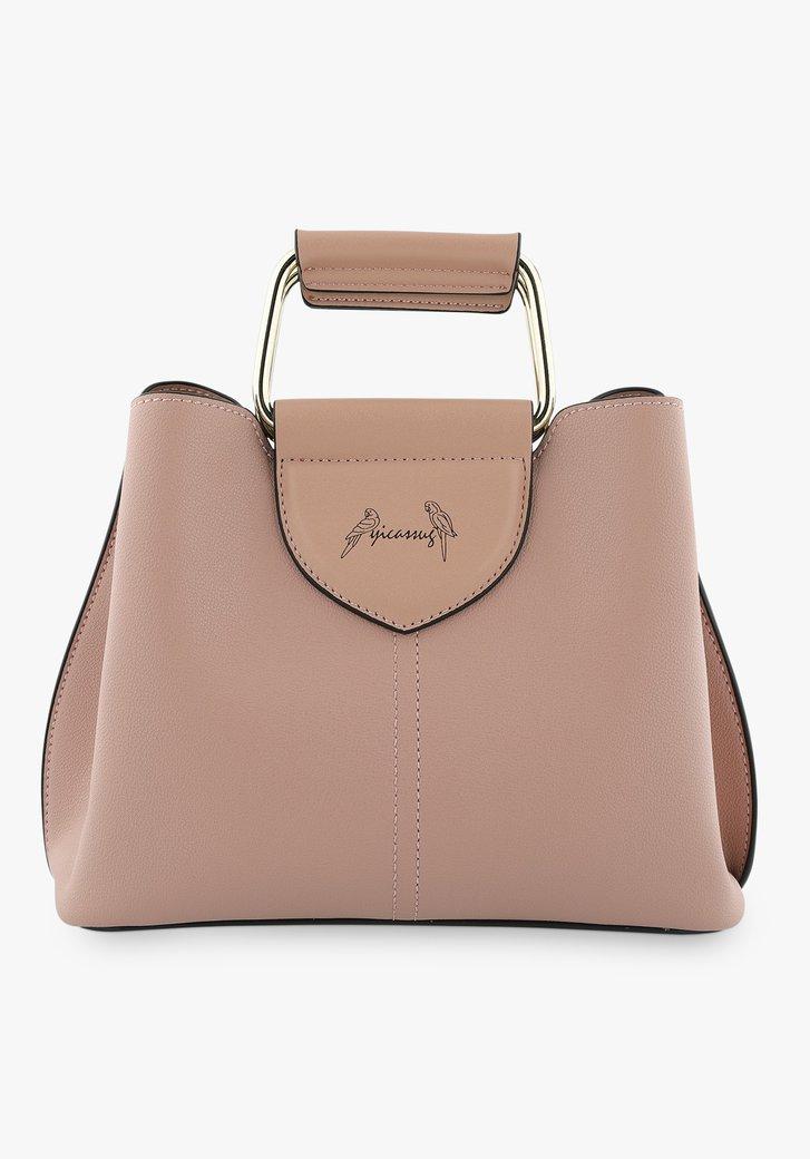 Kleine roze handtas met drie vakken