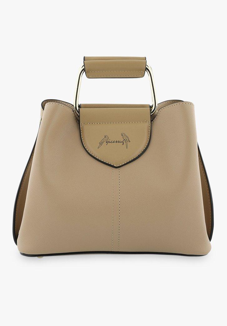 Kleine taupekleurige handtas met drie vakken