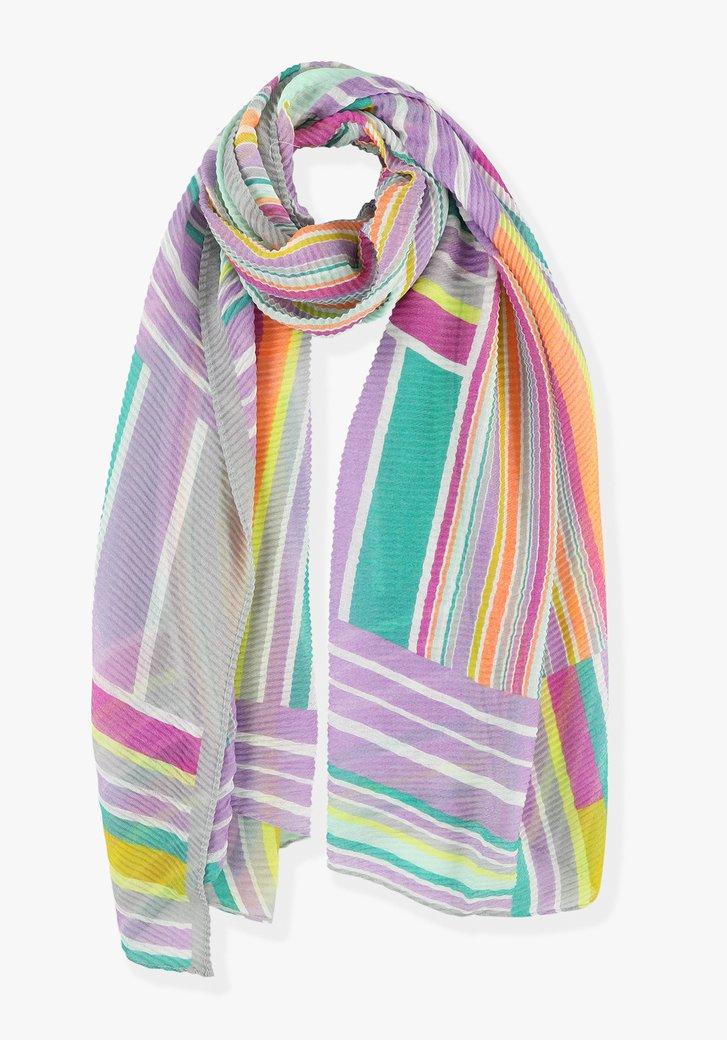 Afbeelding van Kleurrijke gestreepte plissé sjaal