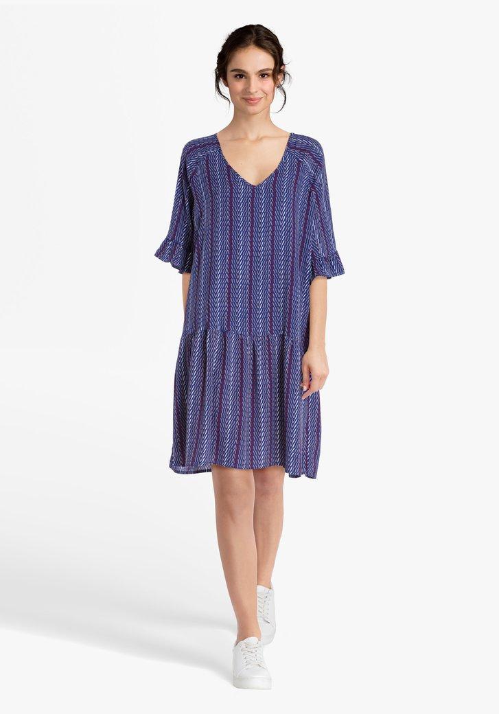Koningsblauw kleed met streepjesprint