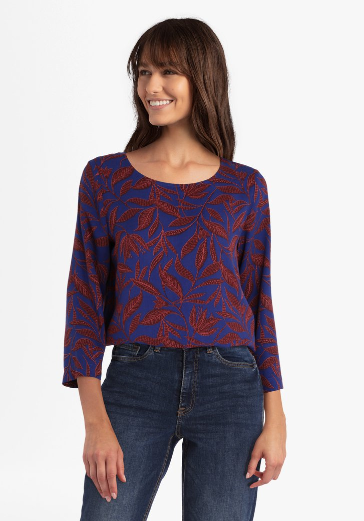 Koningsblauwe blouse met bladerprint