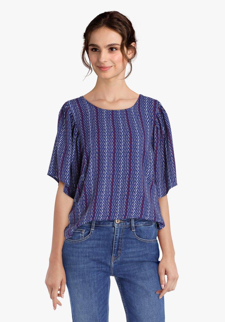 Koningsblauwe blouse met streepjesprint