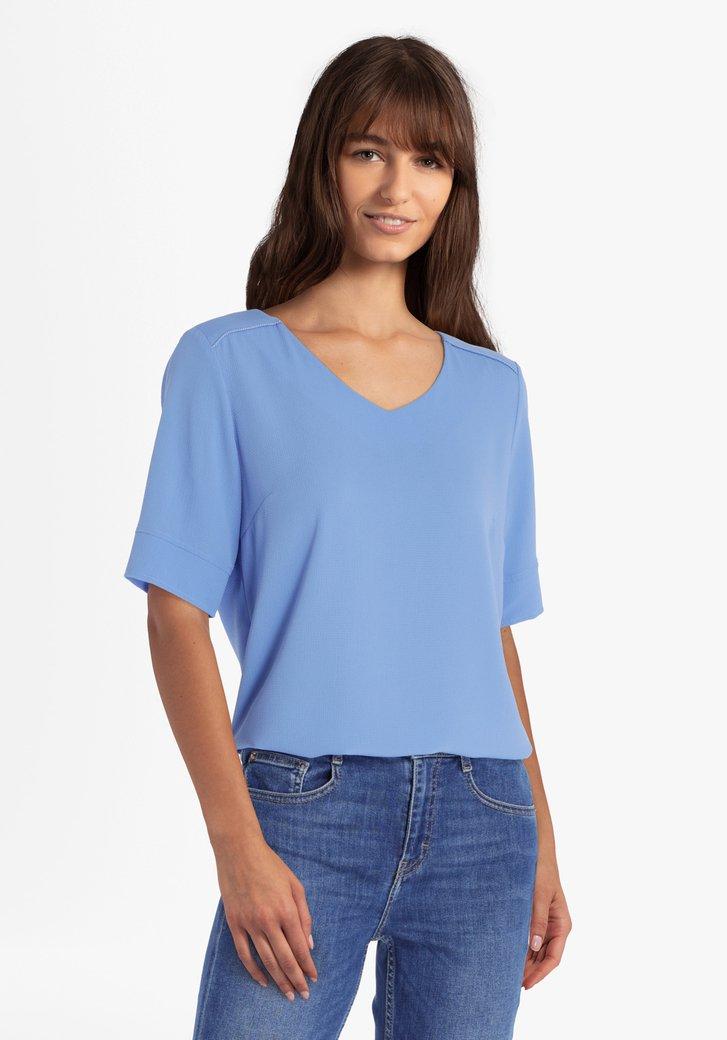 Koningsblauwe blouse met V-hals