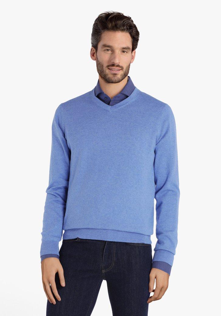 Koningsblauwe katoenen trui met V-hals