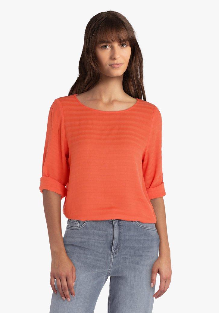 Koraalrode blouse met 3/4 mouwen