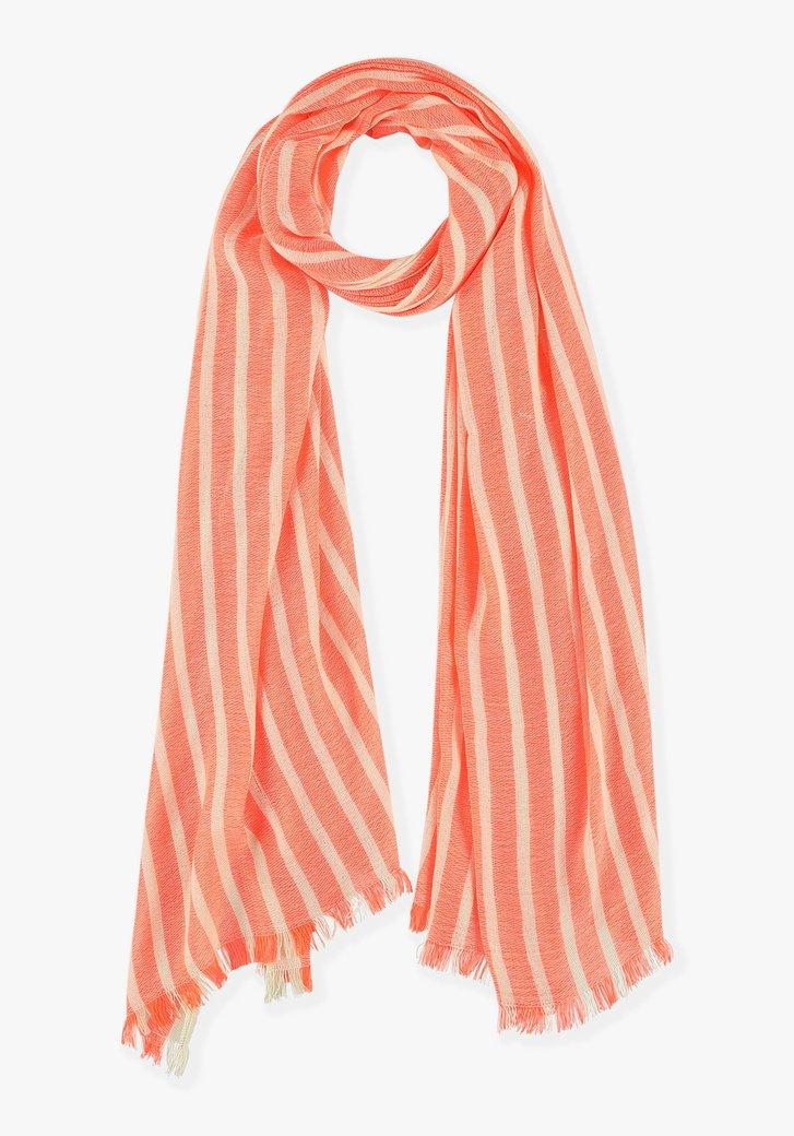 Koraalrode gestreepte sjaal