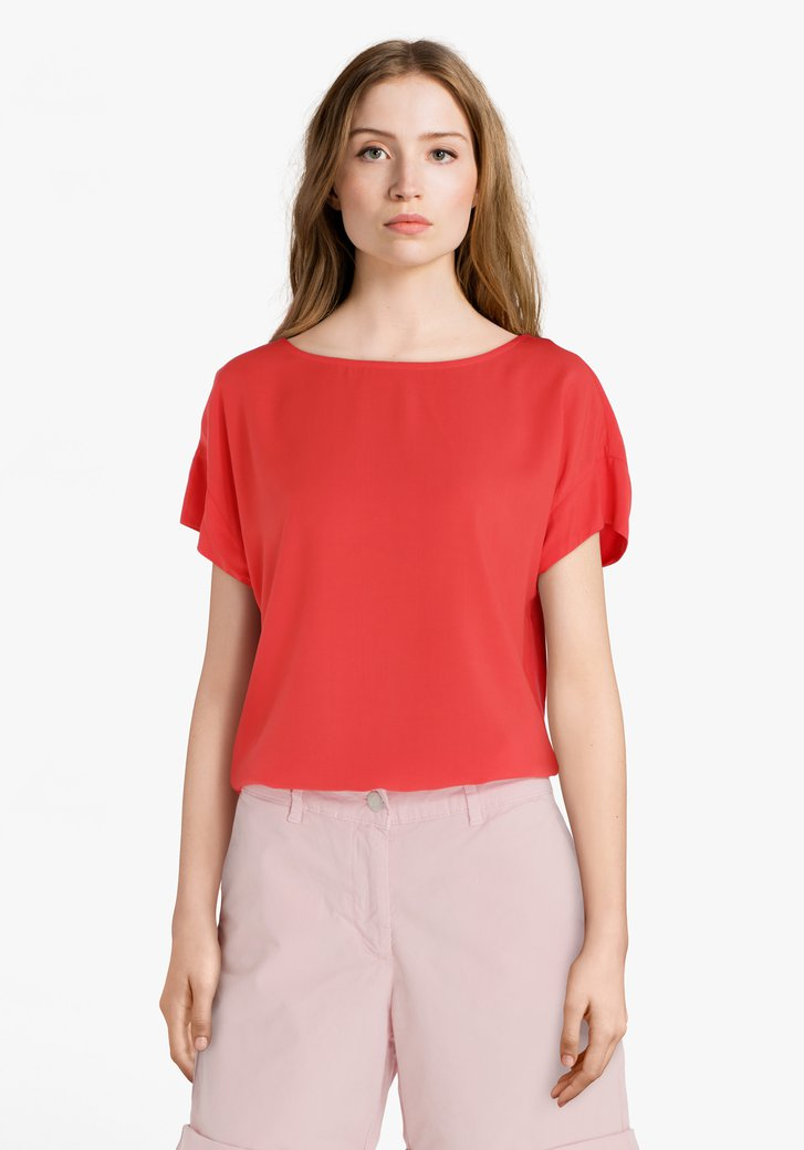 Koraalrood T-shirt in viscose