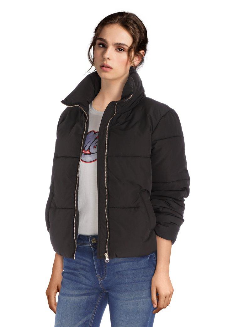 Afbeelding van Korte gewatteerde zwart jas