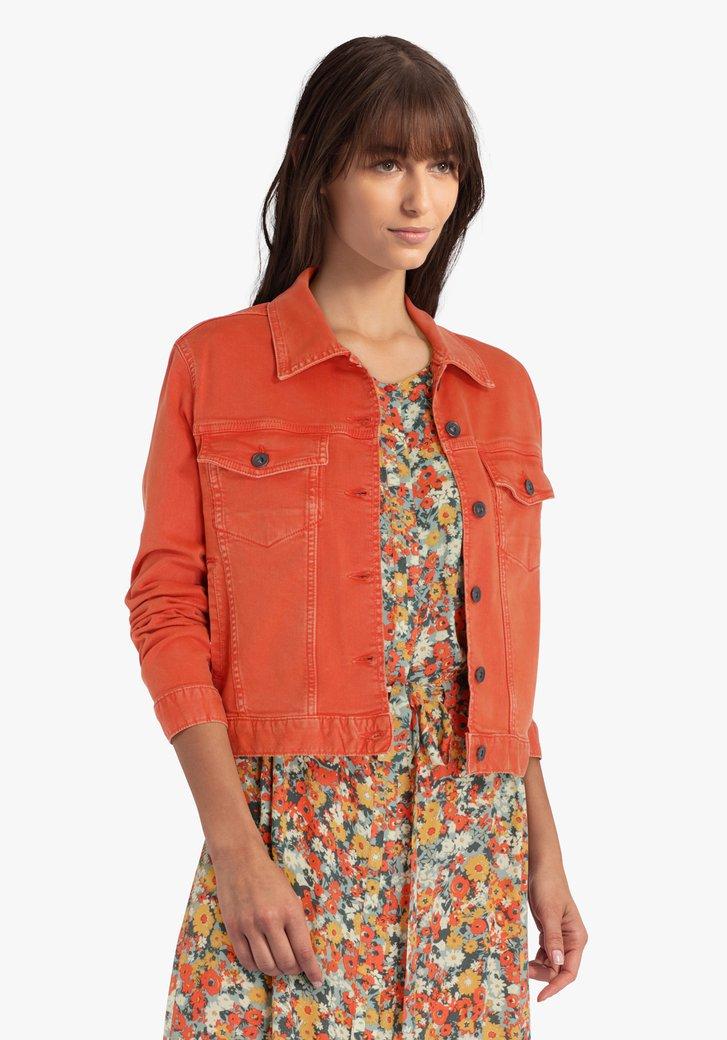 Korte oranje jeansjas